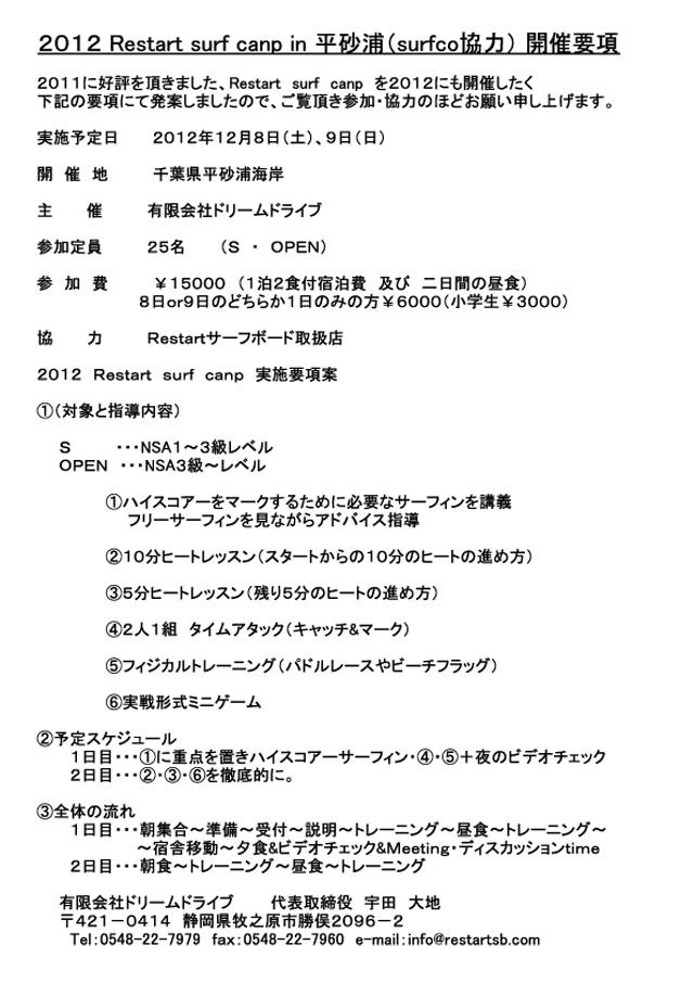 平砂浦で、Restartサーフキャンプ 開催します。